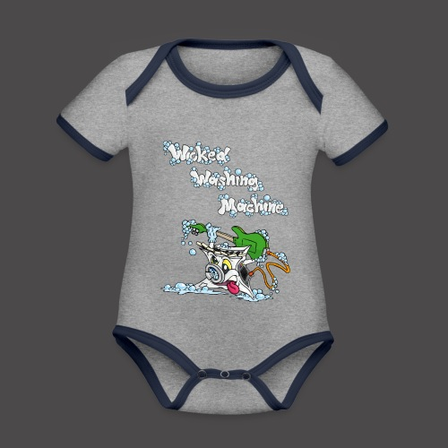 Wicked Washing Machine Cartoon and Logo - Baby contrasterend bio-rompertje met korte mouwen