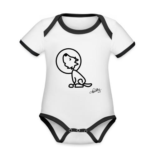 Heulender Wolf - Baby Bio-Kurzarm-Kontrastbody