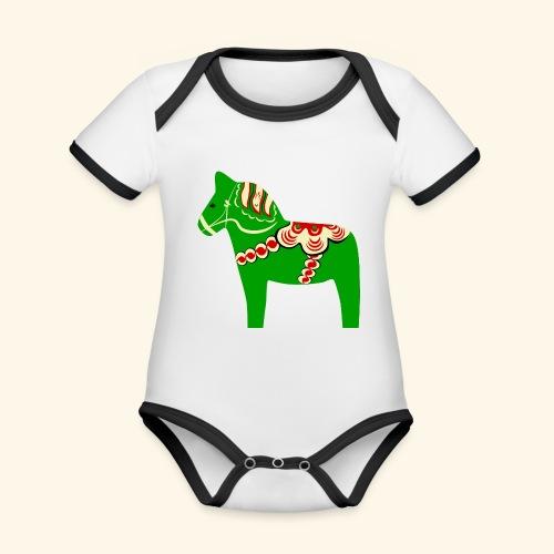 Grön dalahäst - Ekologisk kontrastfärgad kortärmad babybody