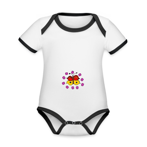 Butterfly colorful - Organic Baby Contrasting Bodysuit