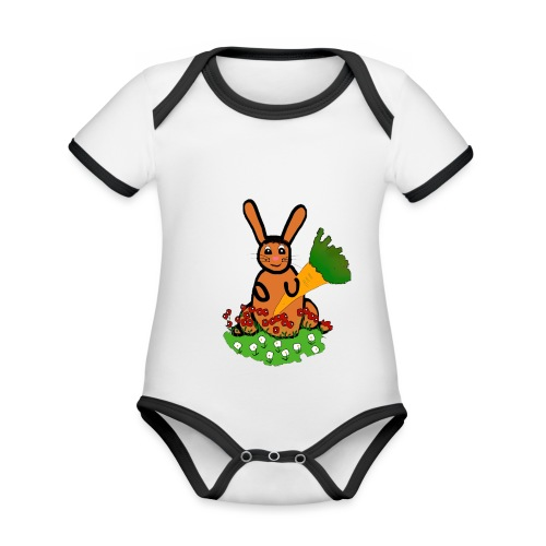 Rabbit with carrot - Organic Baby Contrasting Bodysuit