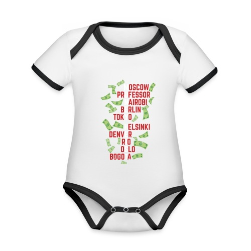 Money Heist Funny Acronim Design - Body contraste para bebé de tejido orgánico