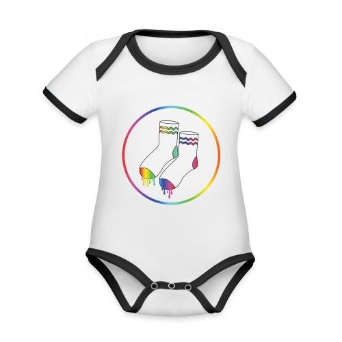 Natte Sokken Classic Logo - Baby contrasterend bio-rompertje met korte mouwen
