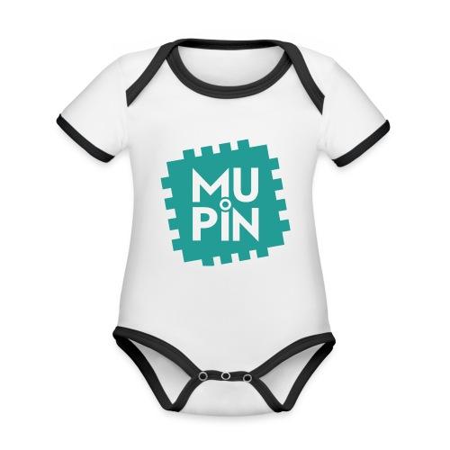 Logo Mupin quadrato - Body da neonato a manica corta, ecologico e in contrasto cromatico