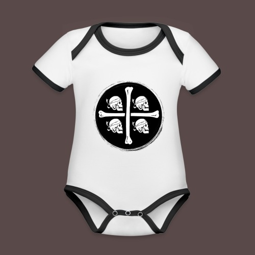 4 Morti - Pirati di Sardegna - Body da neonato a manica corta, ecologico e in contrasto cromatico
