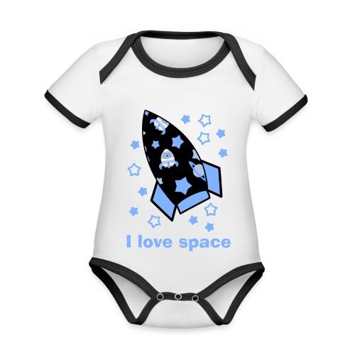 I love space - Body da neonato a manica corta, ecologico e in contrasto cromatico
