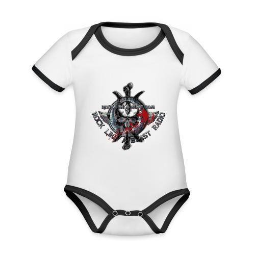 Blood Skull Logo - Ekologisk kontrastfärgad kortärmad babybody