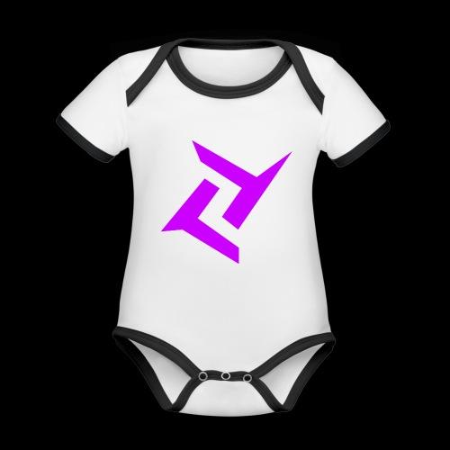 New logo png - Baby contrasterend bio-rompertje met korte mouwen