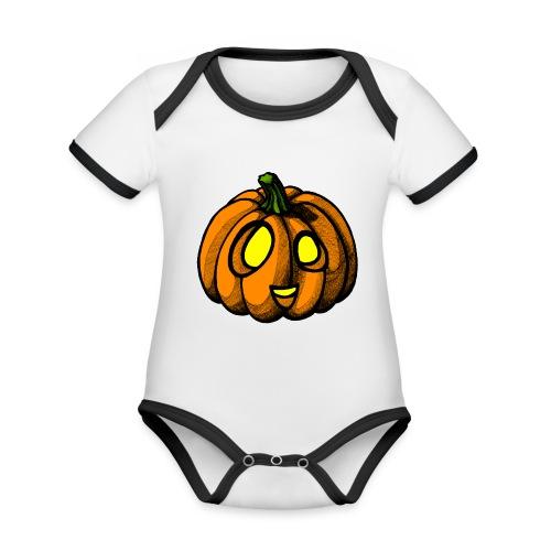 Pumpkin Halloween scribblesirii - Vauvan kontrastivärinen, lyhythihainen luomu-body