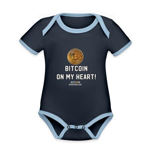Bitcoin on my heart! - Body da neonato a manica corta, ecologico e in contrasto cromatico
