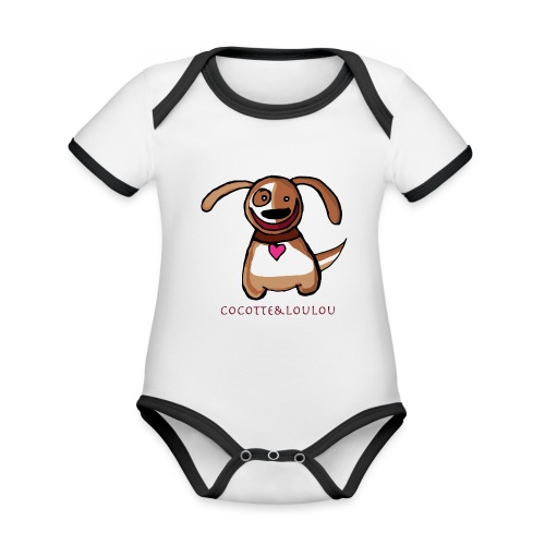 Titou le chien - Body Bébé bio contrasté manches courtes