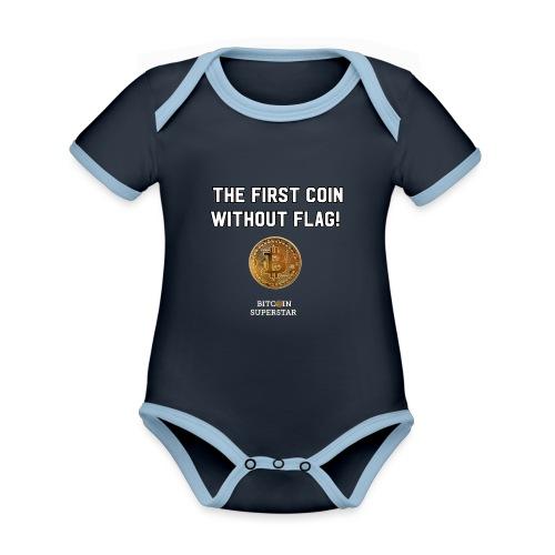 Coin with no flag - Body da neonato a manica corta, ecologico e in contrasto cromatico