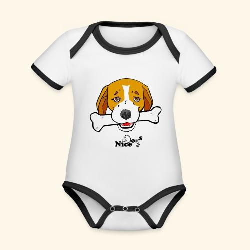 Nice Dogs Semolino - Body da neonato a manica corta, ecologico e in contrasto cromatico