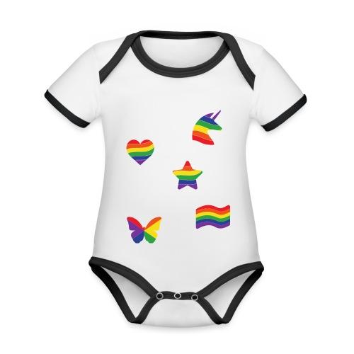 Regenbogen Sticker | LGBT | Pride - Baby Bio-Kurzarm-Kontrastbody