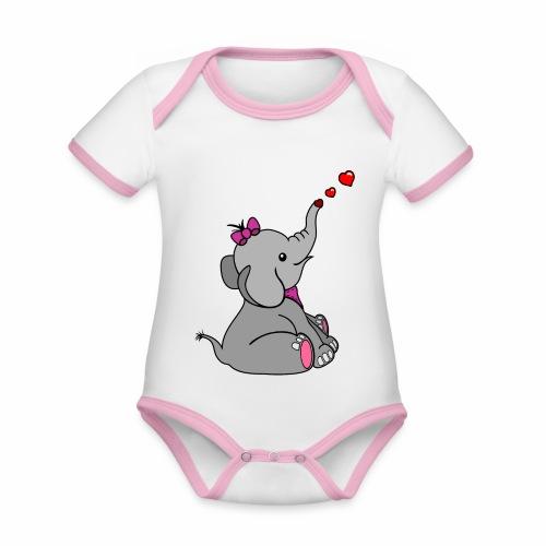 Elefant - Baby Bio-Kurzarm-Kontrastbody
