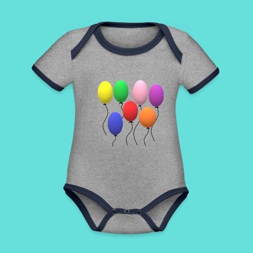 ballons - Body Bébé bio contrasté manches courtes