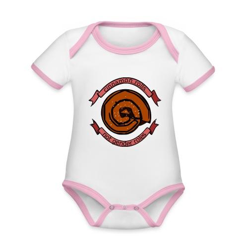 Cinnamon rolls - not gender roles - Kortærmet økologisk babybody i kontrastfarver