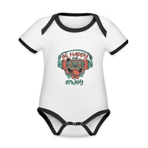 Be happy Mops and enjoy / Genießer Hunde Leben - Baby Bio-Kurzarm-Kontrastbody