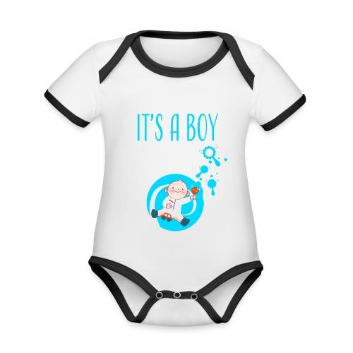 It's a Boy Auto. Witzige süße Umstandsmode T-Shirt - Baby Bio-Kurzarm-Kontrastbody