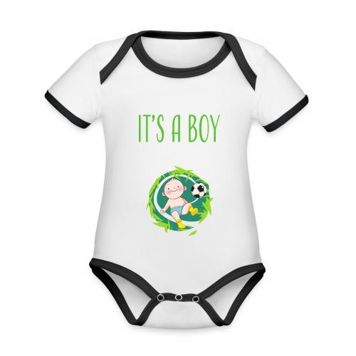 It's a Boy Fußball. Witzige Umstandsmode T-Shirt - Baby Bio-Kurzarm-Kontrastbody