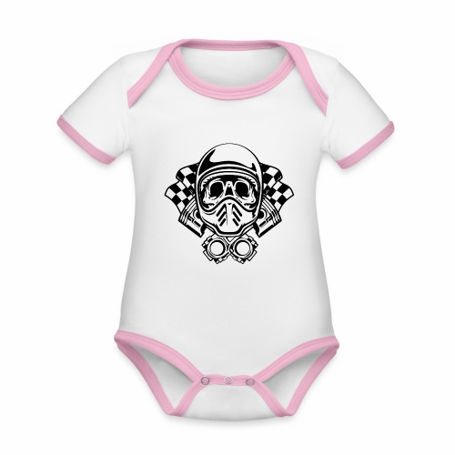 Racing Skull Helmet - Organic Baby Contrasting Bodysuit