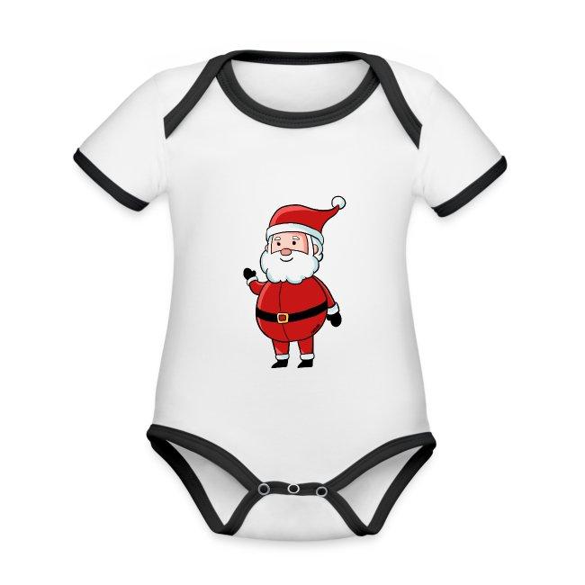 Weihnachten Nikolaus Kinder Winter Schnee Geschenk Baby Bio Kurzarm Kontrastbody