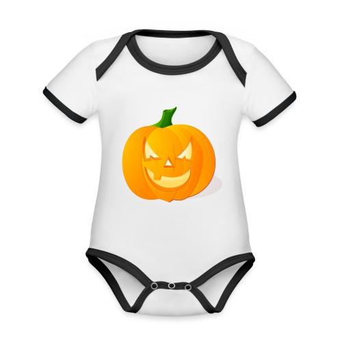Kürbis Halloween Scary - Baby Bio-Kurzarm-Kontrastbody