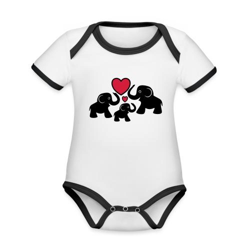 Zu dritt Elefanten Familie Mama Papa Baby Herz - Baby Bio-Kurzarm-Kontrastbody