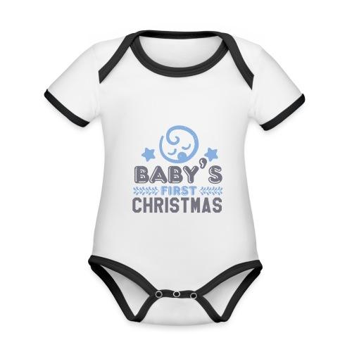 Baby`s First Christmas - Baby Bio-Kurzarm-Kontrastbody