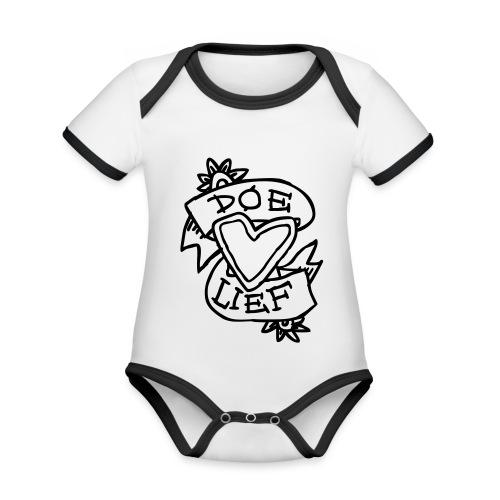 doe lief hart tattoo - Baby contrasterend bio-rompertje met korte mouwen
