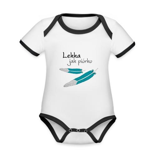 Lekka jak piórko - Ekologiczne body niemowlęce z krótkim rękawem i kontrastowymi lamówkami