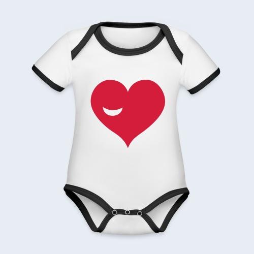 Winky Heart - Baby contrasterend bio-rompertje met korte mouwen