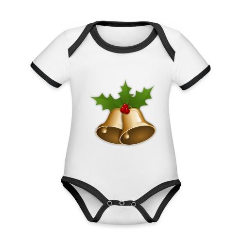 kerstttt - Baby contrasterend bio-rompertje met korte mouwen
