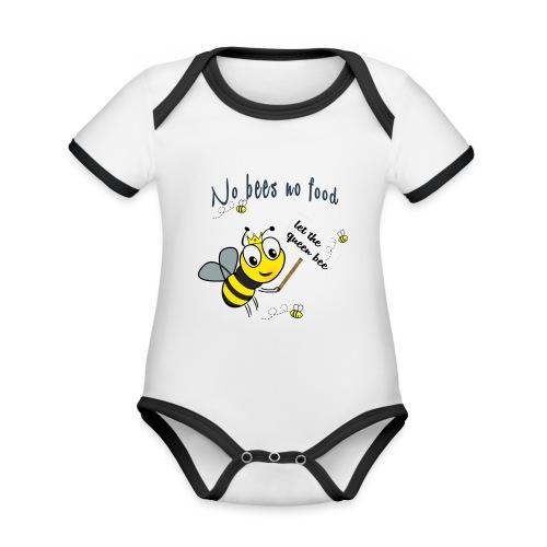 Save the bees with this cute design! Red de bij - Baby contrasterend bio-rompertje met korte mouwen
