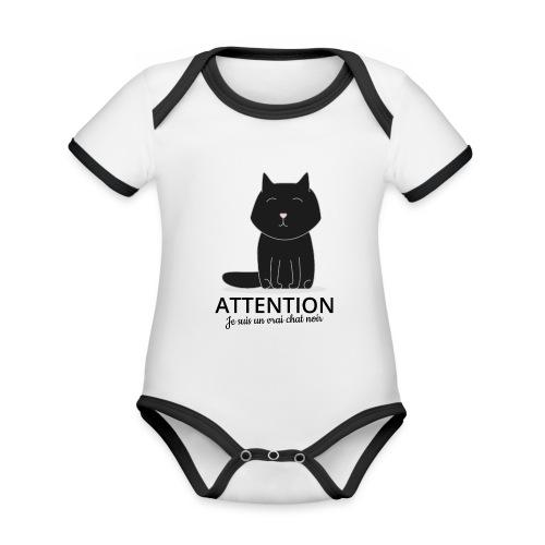 Chat noir - Body Bébé bio contrasté manches courtes