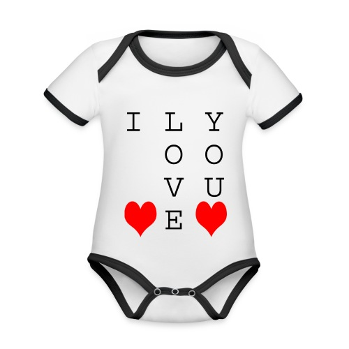 I Love You - Organic Baby Contrasting Bodysuit
