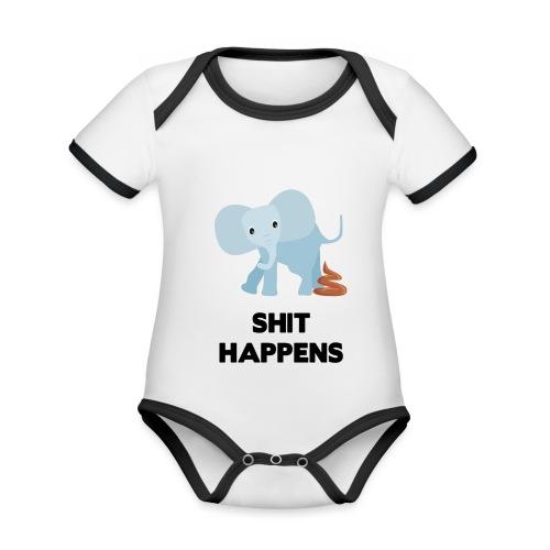 olifant met drol shit happens poep schaamte - Baby contrasterend bio-rompertje met korte mouwen