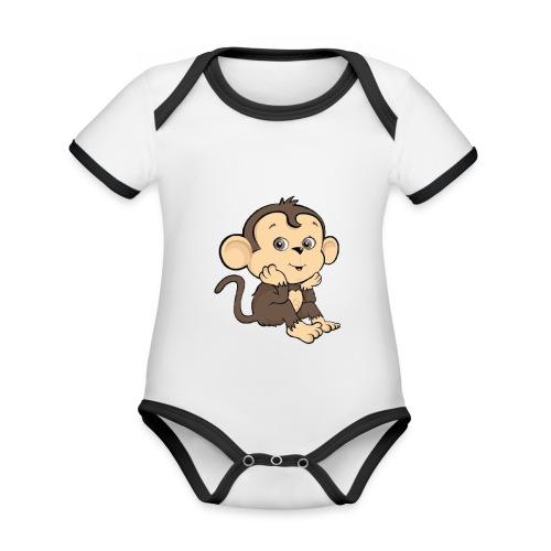 Monkey - Ekologisk kontrastfärgad kortärmad babybody