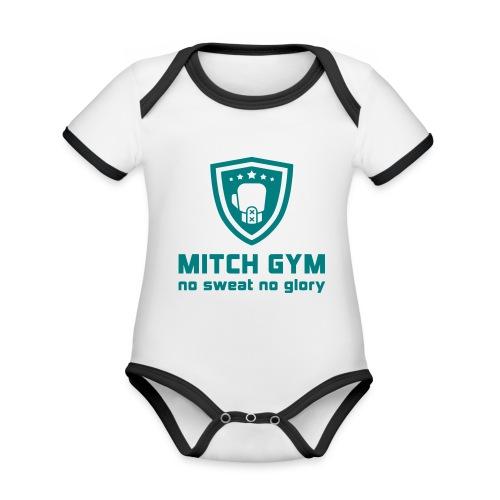 Logo_Mitch_Gym edit - Baby contrasterend bio-rompertje met korte mouwen