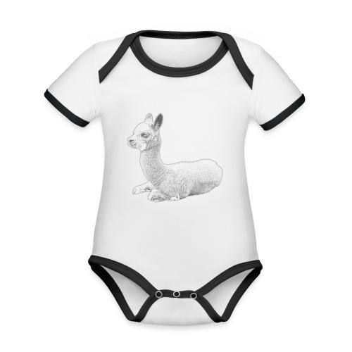 Kleines Alpaka - Baby Bio-Kurzarm-Kontrastbody