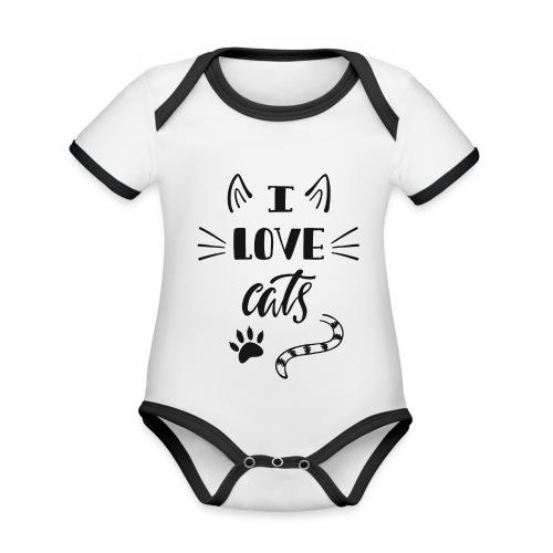 I love cats - Baby Bio-Kurzarm-Kontrastbody