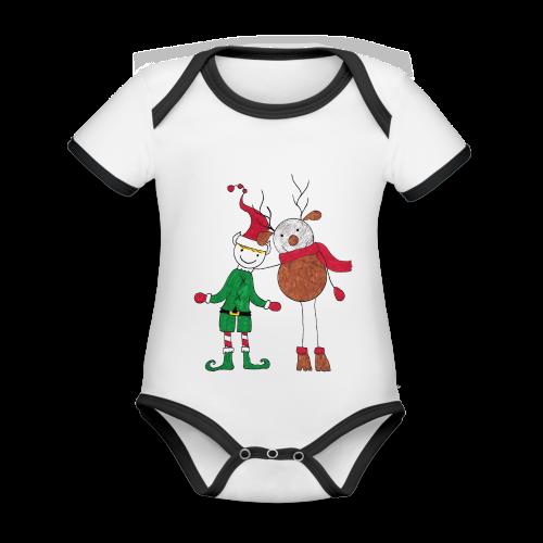 Elfo e Renna di Nonna Catia - Body da neonato a manica corta, ecologico e in contrasto cromatico