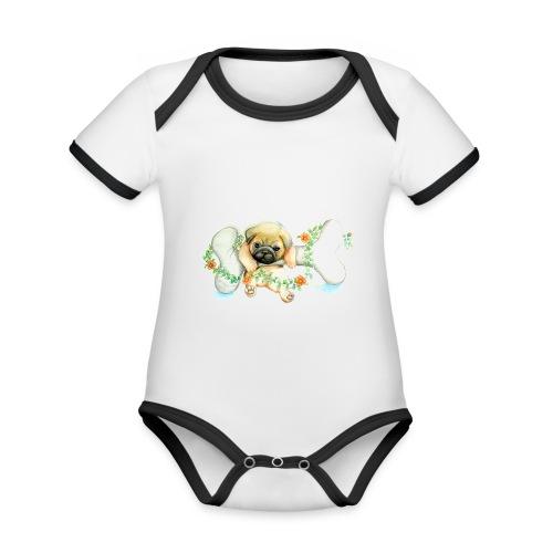 Mops knochen - Baby Bio-Kurzarm-Kontrastbody