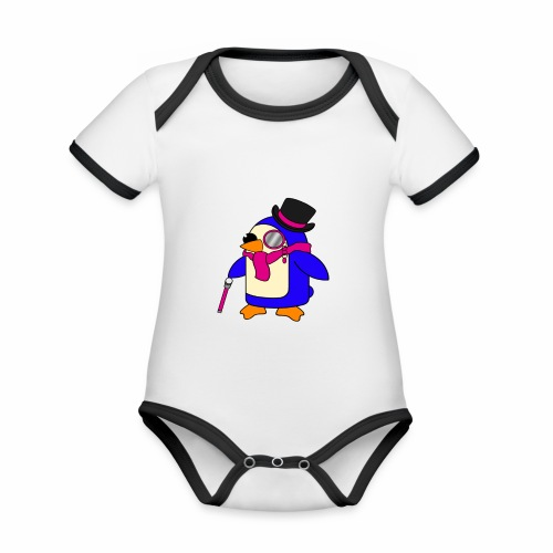 Cute Posh Flowery Pink Penguin - Organic Baby Contrasting Bodysuit