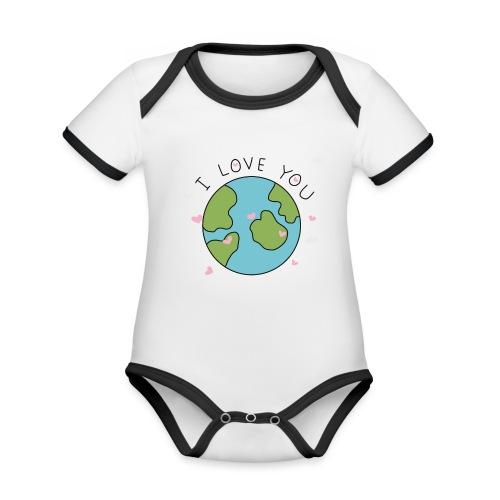 iloveyou - Body da neonato a manica corta, ecologico e in contrasto cromatico