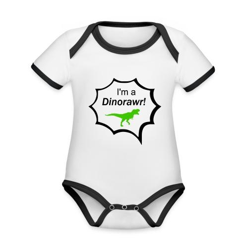 I¨m a dinorawr - Ekologisk kontrastfärgad kortärmad babybody