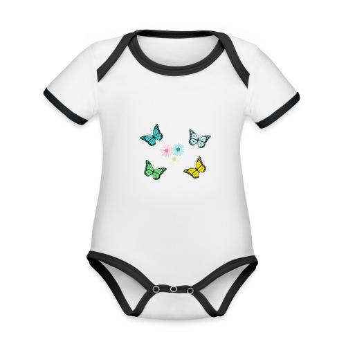 Butterflies and flowers - Ekologisk kontrastfärgad kortärmad babybody