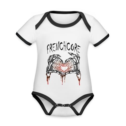 Frenchcore Heart 02 - Baby Bio-Kurzarm-Kontrastbody