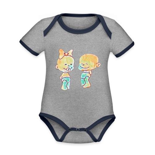 Bambini innamorati - Body da neonato a manica corta, ecologico e in contrasto cromatico