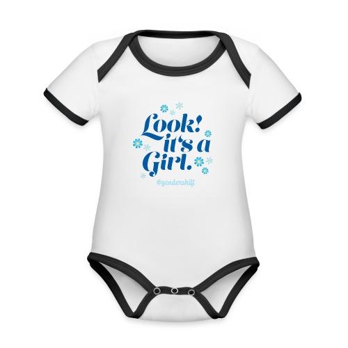 Look! It's a Girl. - Baby Bio-Kurzarm-Kontrastbody